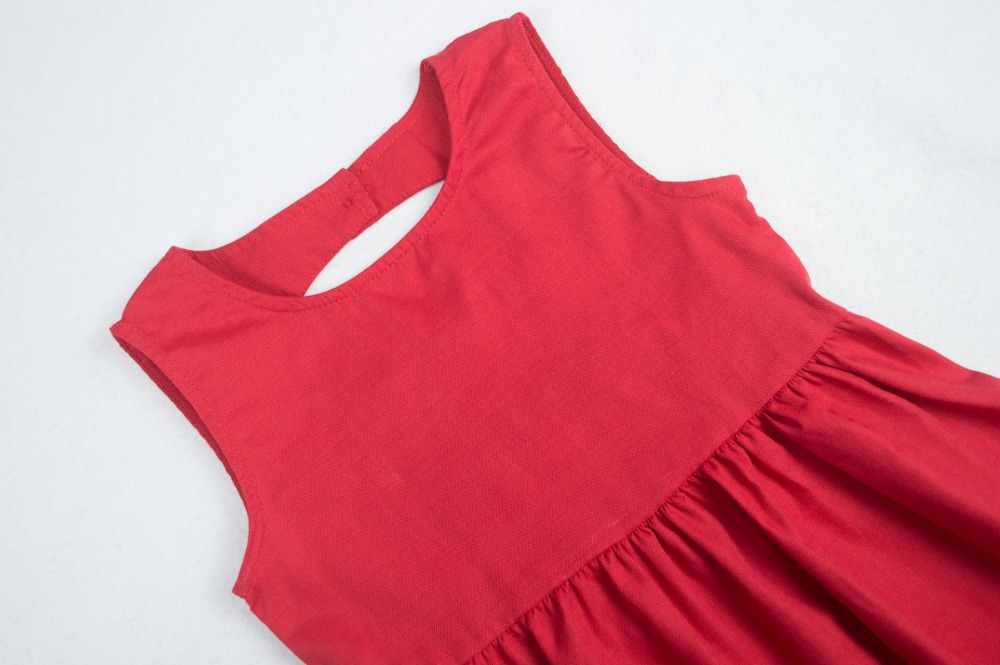 Cielarko Vestido sin espalda de verano para niñas Rojo Sólido - Ropa de ninos - foto 3