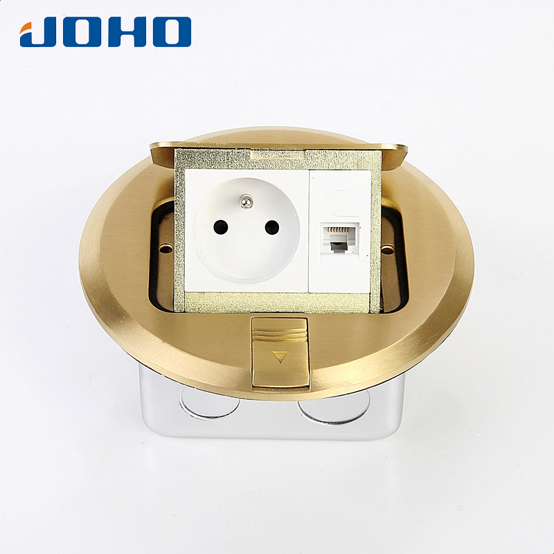 Brass Material Round type Floor outlet with rj45 socket 16A socket Slow pop up brass slow pop up floor socket box with 15a 125v us socket rj45 computer data