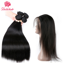 Beau Peruvian Straight Hair 360 Lace Frontal Closure With Bundles Human Hair 4 Bundles With Closure Frontal Nonremy Hair Weave