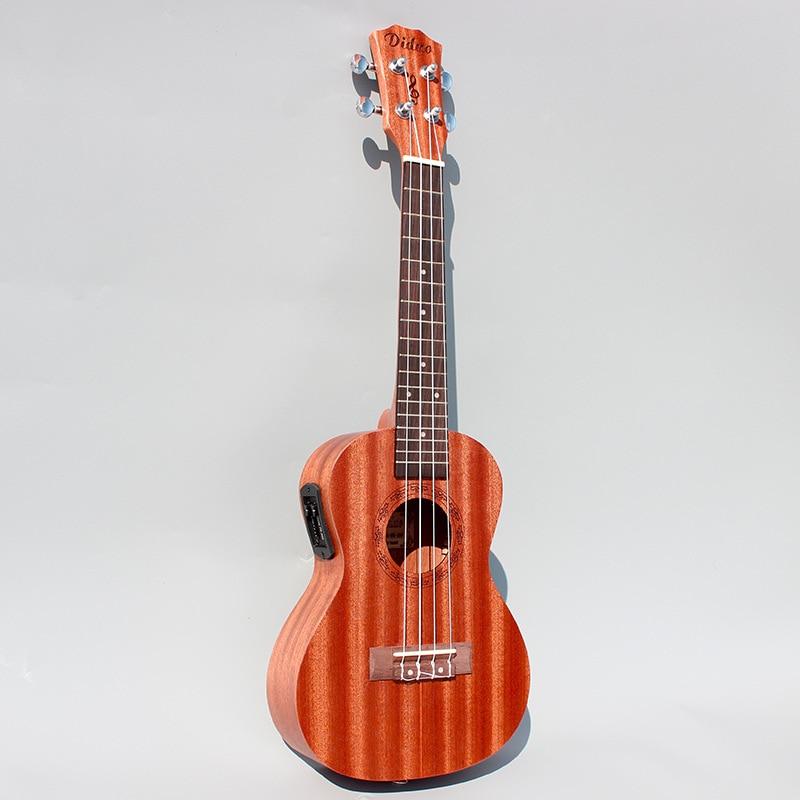 23'' Mahogany EQ Electric Guitar Ukulele 4 AQ Strings Mini Acoustic Guitar Rosewood Fingerplate Guitarra Electrica ukulele 23 26 inch mini hawaiian guitar mahogany concert tenor cutaway acoustic electric 4 strings ukelele guitarra