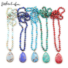 Fashion Bohemian Necklaces Natural Emperor Stone beads Knotted Matching Drop Pendant Women Necklace for women Jewelry