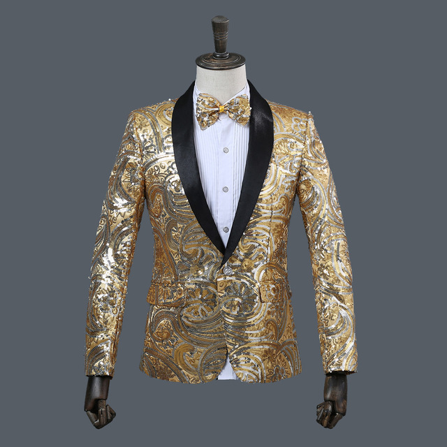 Hot Men Korean Fancy sequins suit fruit collar jackets male Singer Stage Performance Suits Jacket Annual DJ Blazer With Bow Tie