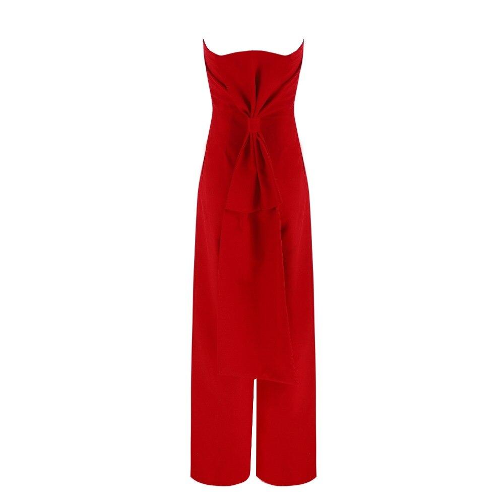 Femmes Body Rouge Celebrity 2018 Arc Robes Moulante Salopette Combinaisons Bretelles Piste New Summer Barboteuses Sexy Élégant q11w6E