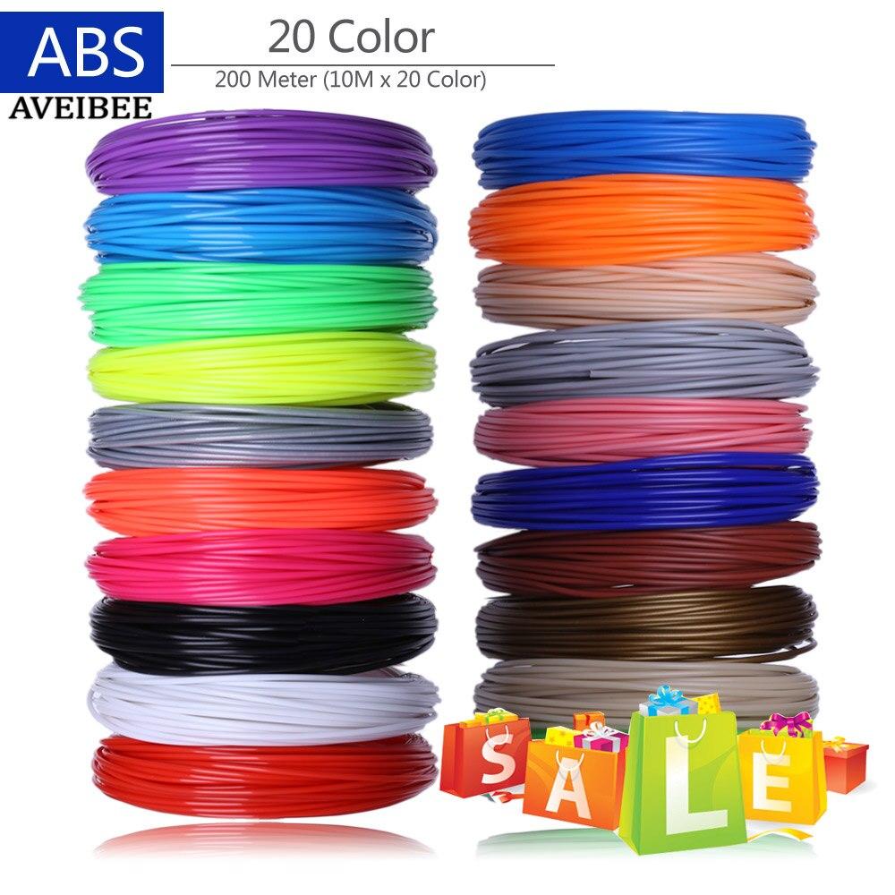 Filamentos de impressora 3d 200 metros 20 cores caneta impressão 3d fios plásticos fio 1.75mm impressora consumíveis 3 d caneta filamento abs