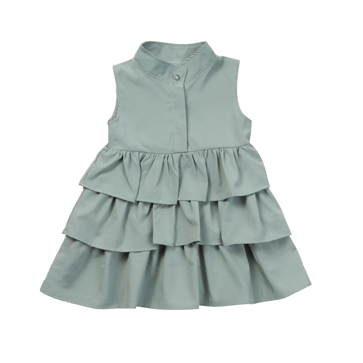 Newborn Kid Baby Girls Party Pageant Cake Ruffle Tutu Sleeveless Black Green Colors Bubble Clothes Dress mint green casual sleeveless hooded top