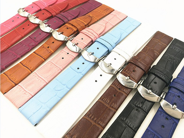 1PCS 12MM 14MM 16MM 18MM 20MM 22MM genuine leather split leather Watch band watch strap man and woman watch bands-6991 watch band12mm 14mm 16mm 18mm 20mm lizard pattern black genuine leather watch bands strap bracelets silver pin watch buckle