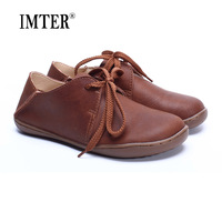 Hand Made Women Shoes 100 Authentic Leather Round Toe Lace Up Ladies Flat Shoes Slip Resistance
