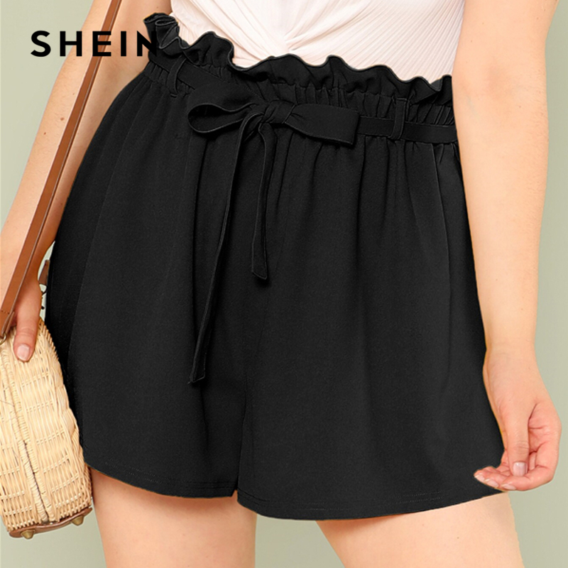 SHEIN Plus Size Solid Paperbag Waist Shorts 2019 Women Summer Elegant Loose Pleated Officcewear Wide Leg Shorts With Belt