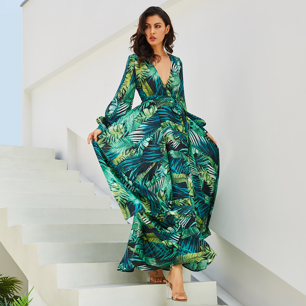 a1fcb1b88f 2018 New women maxi dress boho Tropical v neck lace up green print plus  size dress summer dress beach casual holiday long dress