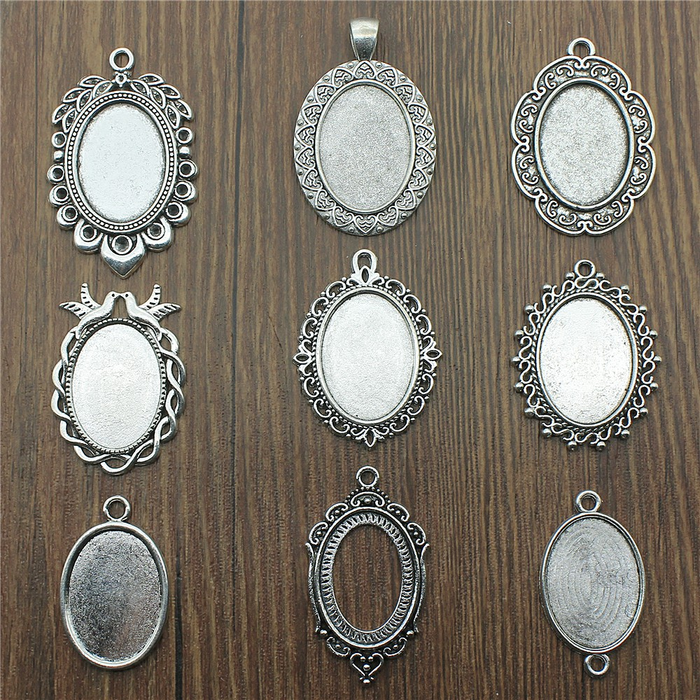 10pcs/Lot Fit 18x25mm Oval Glass Cabochon Base Setting Pendant Tray For Jewelry DIY Making Antique Silver Color Fm4011