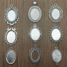 10pcs 18x25mm Inner Size Oval Glass Cabochon Base Setting Antique Silver Color For Jewelry Making FM4011