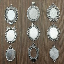 10pcs/lot Fit 18x25mm Oval Glass Cabochon Base Setting Pendant Tray For Jewelry DIY Making Antique Silver Color FM4011(China)
