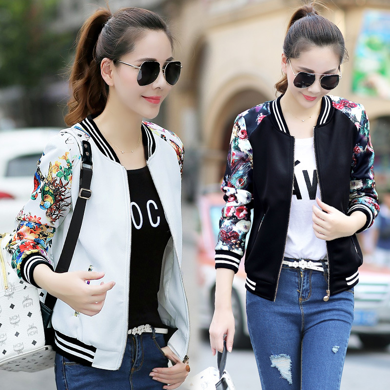 Vintage flower   basic     jacket   coat Autumn casual   jacket   Women baseball   jackets   big size lady coat   jacket   for girl