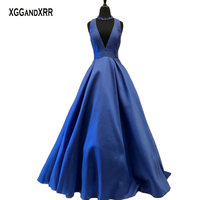 Hot Sale Sexy Prom Dress Long Evening Gown Deep V Neck Bow Blue Matte Satin Plus Size Girls Party Gown Court Train Custom Made