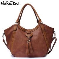 NIGEDU Leather Casual Tassel Handbag Large Famous Brands Designers Pu Leather Handbags Women Big Tote Bags Female Messenger Bags