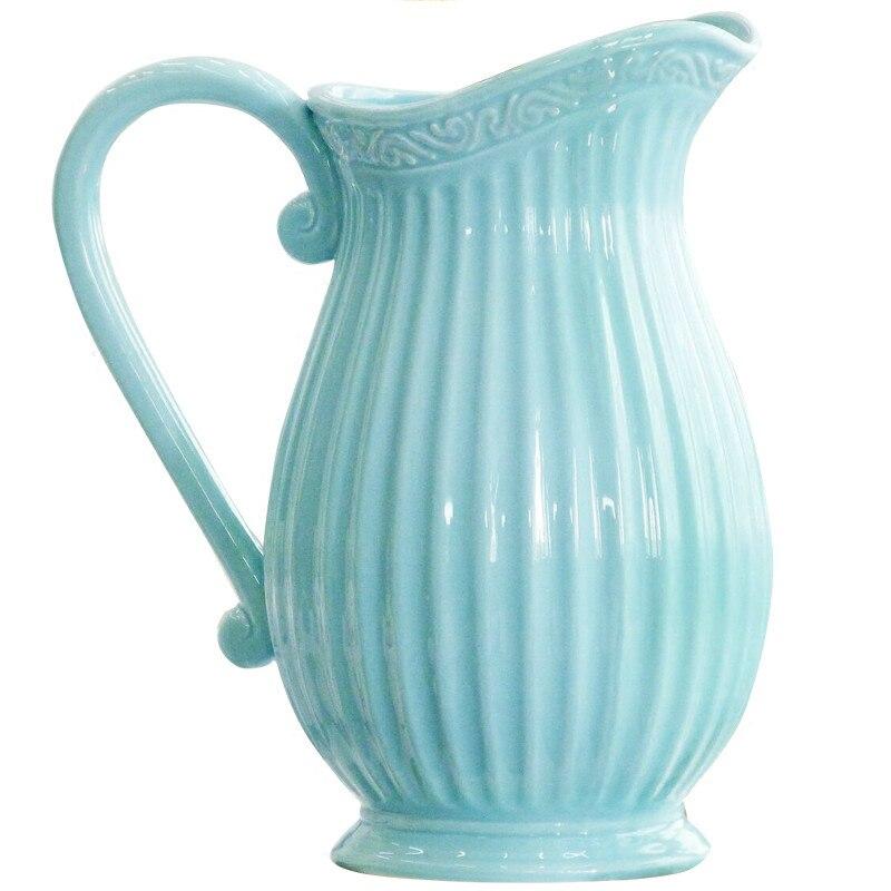 The American Village Single Ear Milk Pot Vase Vintage Ceramic Vase Flower Decoration Crafts