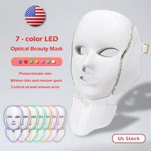 цена на 7 Colors Led Facial Mask Led Korean Photon Therapy Face Mask Machine Light Therapy Acne Mask Neck Beauty Led Mask