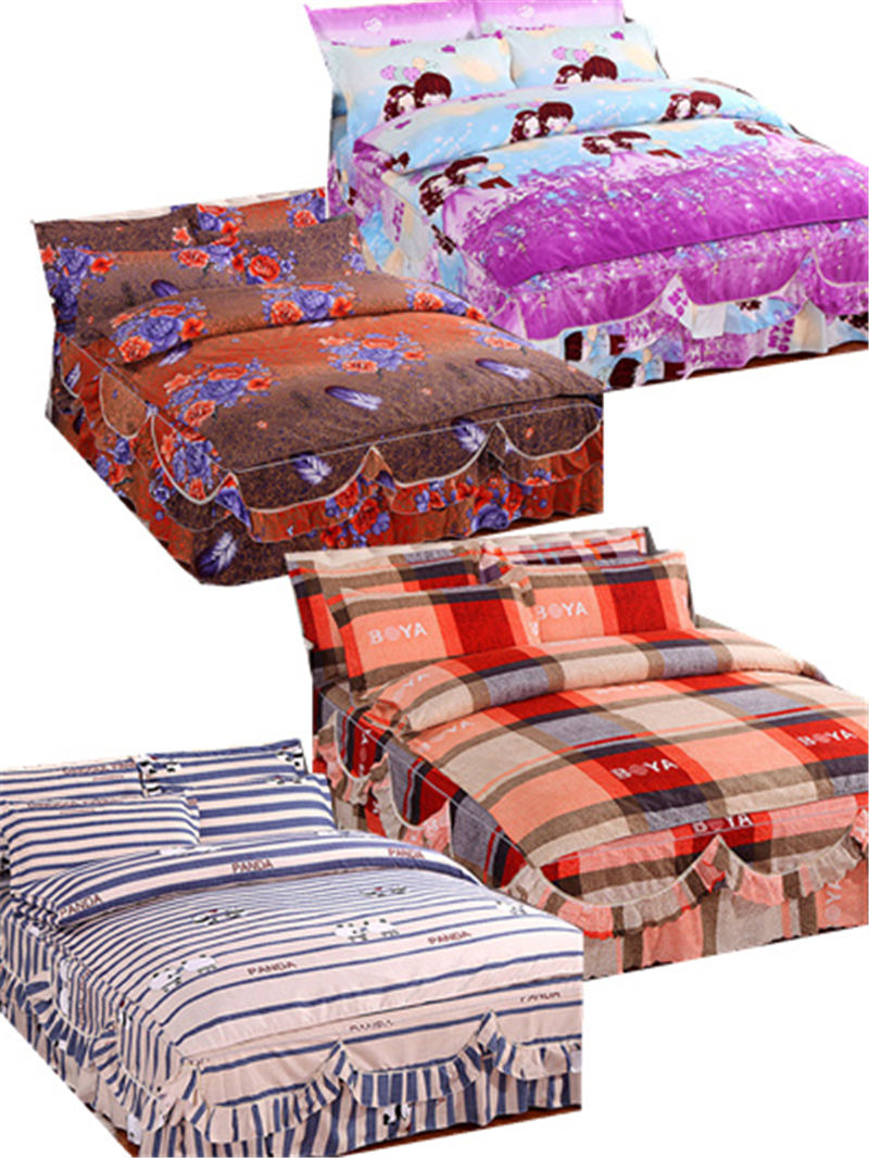 Winter Solstice Home Textile Autumn Dark Flower Series Sheets 4 Piece Bedding Quilt Cover Bed Cover Pillow Case