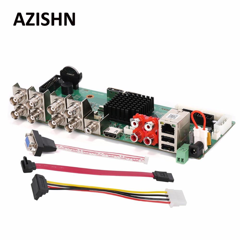 AZISHN FULL HD Security AHD DVR Board 8CH 1080P Real Time CCTV H.264 AHD/CVI/CVI  Hybrid 5 in 1 NVR DVR DIY BORAD VGA HDMI hd 8ch ahd tvi cvi dvr recorder surveillance h 264 up to 2mp 1 sata onvif hdmi vga p2p for ahd analog camera security system