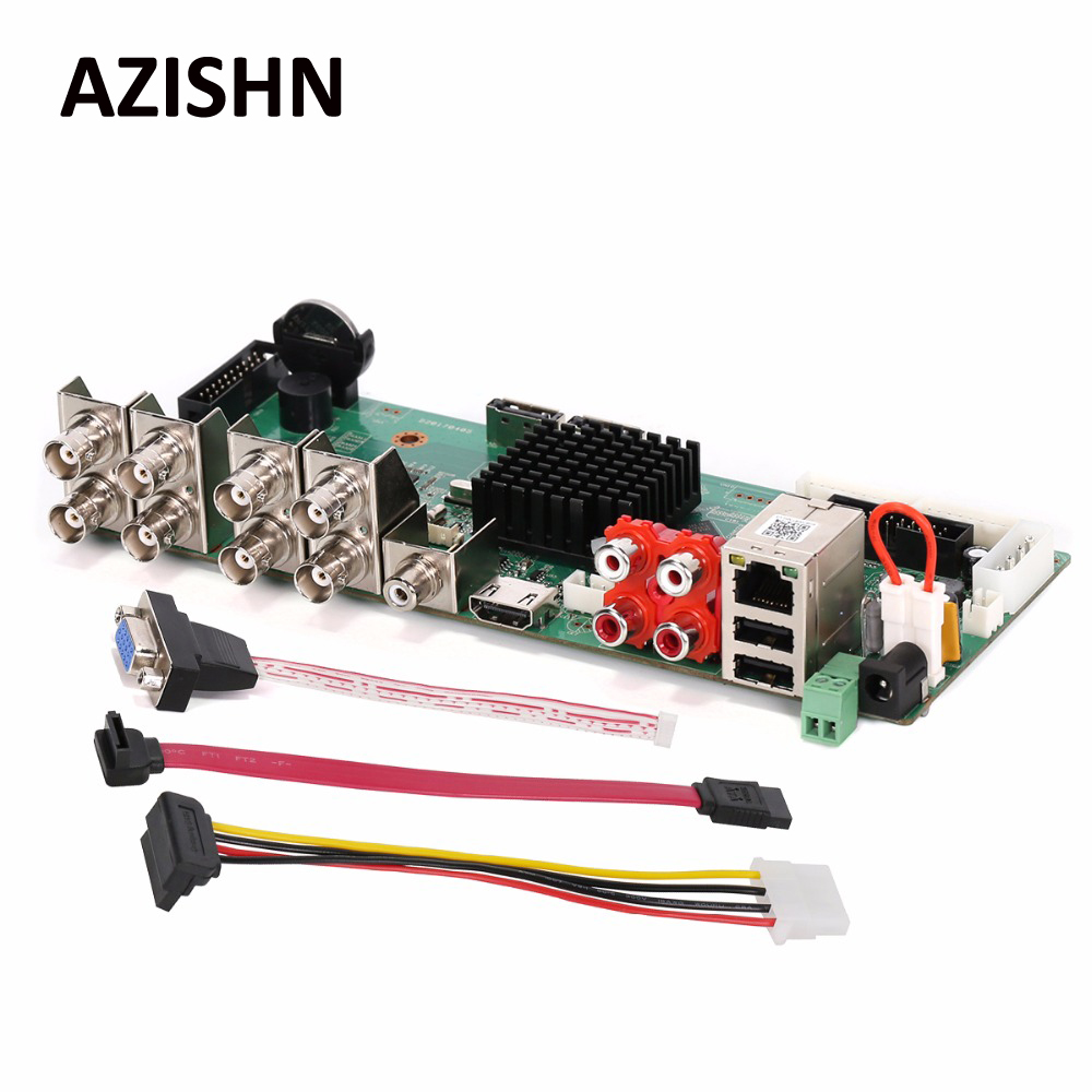 AZISHN FULL HD Security AHD DVR Board 8CH 1080P Real Time CCTV H.264 AHD/CVI/CVI Hybrid 5 in 1 NVR DVR DIY BORAD VGA HDMI