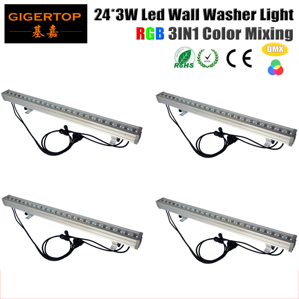 tiptop 4xlot 24x3w dimmable led wall washer  rgb  dmx512 customizable  colour changing