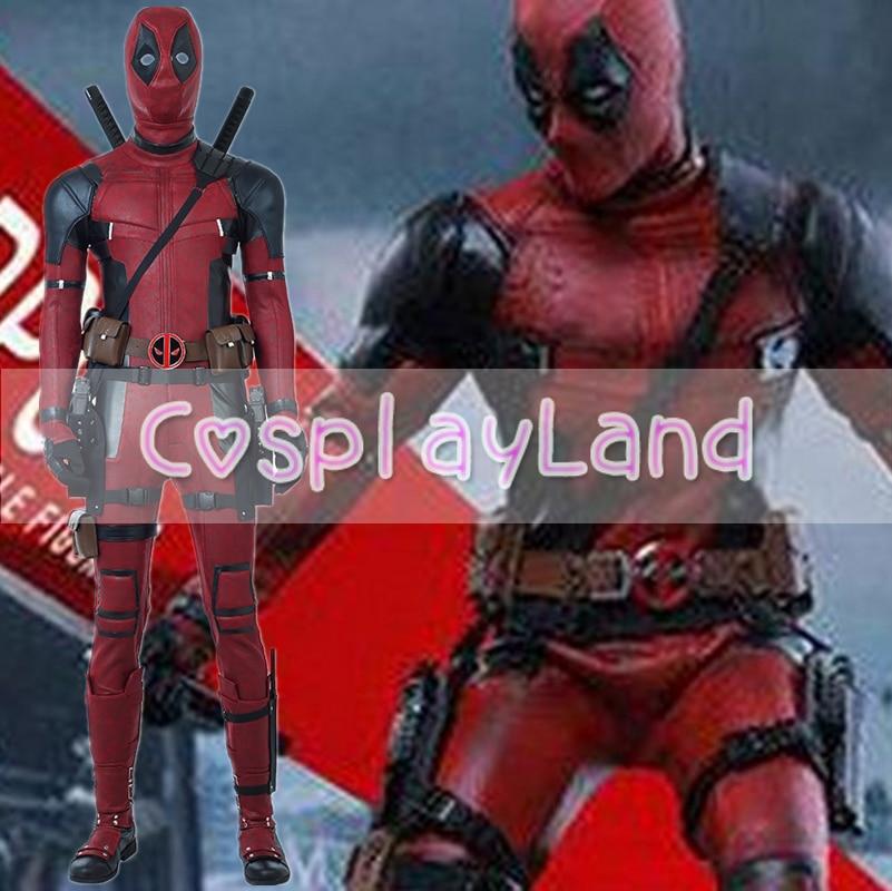 2018 Movie Deadpool 2 Wade Deadpool Cosplay Costume Halloween Costumes for Adult Men Superhero Cosplay Deadpool Red Jumpsuit