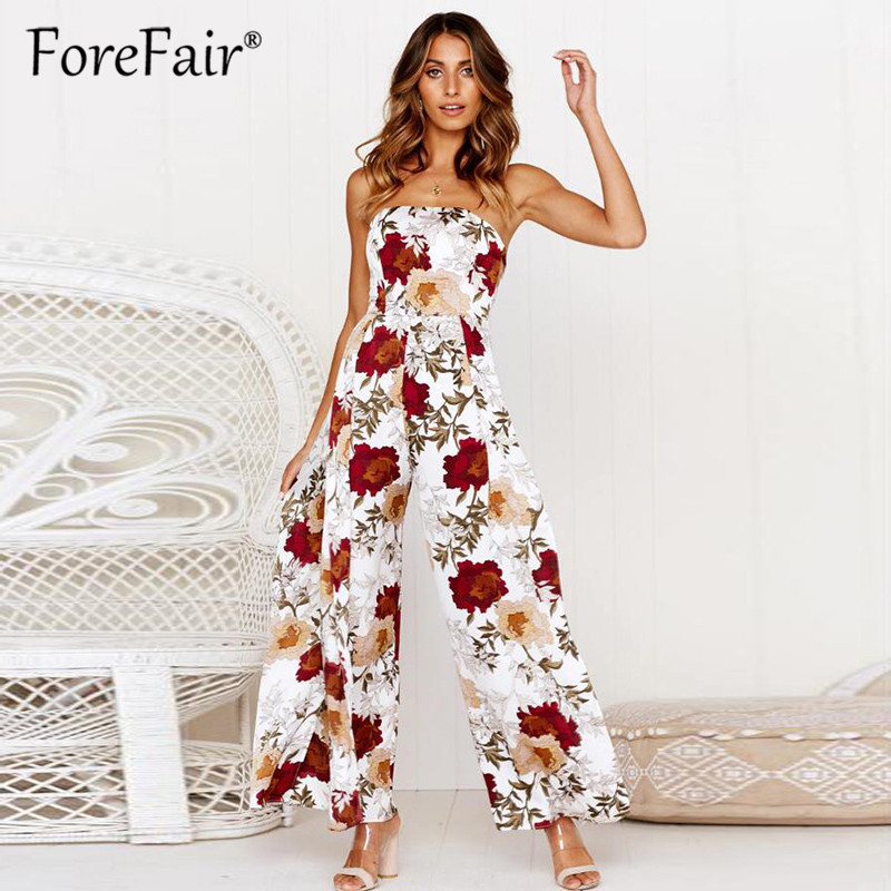 Forefair Floral print boho full length   jumpsuit   women summer 2019 sleeveless strapless high split sexy rompers womens   jumpsuit