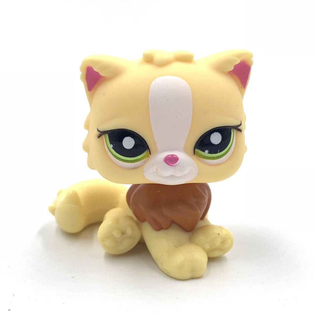 Pet Shop Lps Toys Original Animal  PERSIAN YELLOW Cat Cute Kitty With Green Eyes Lovely Anime Toys For Kids
