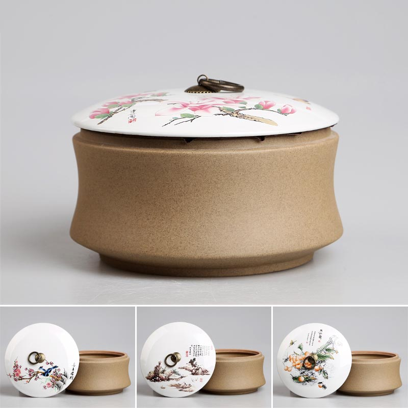 1200ml Chinese Ceramic Pottery Handpainted Lotus Home Storage Organization Jar | for Storage Coffee Bean Tea Candy Jams Spices