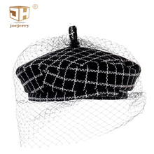 JOEJERRY Wool Beret Female French Hat Tweed Plaid with Veil For Wedding Party
