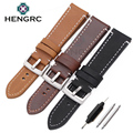HENGRC Newest 18mm 20mm 22mm Genuine Leather Watchband Belt Manual Men Thick Brown Black Watch Band Strap Buckle Accessories