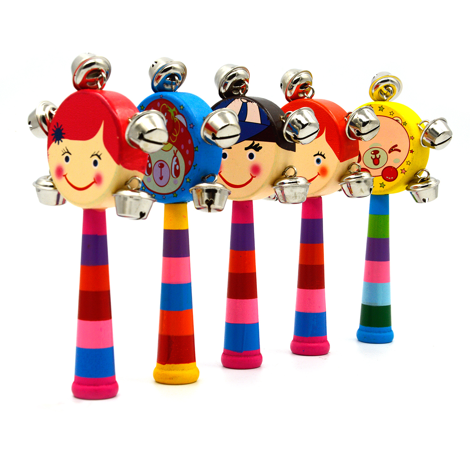 1 Cartoon Colorful Wooden Hand Held Puppet Head Drum Rod Rattle Handbell Musical Instrument Educational Toys for Infant Baby