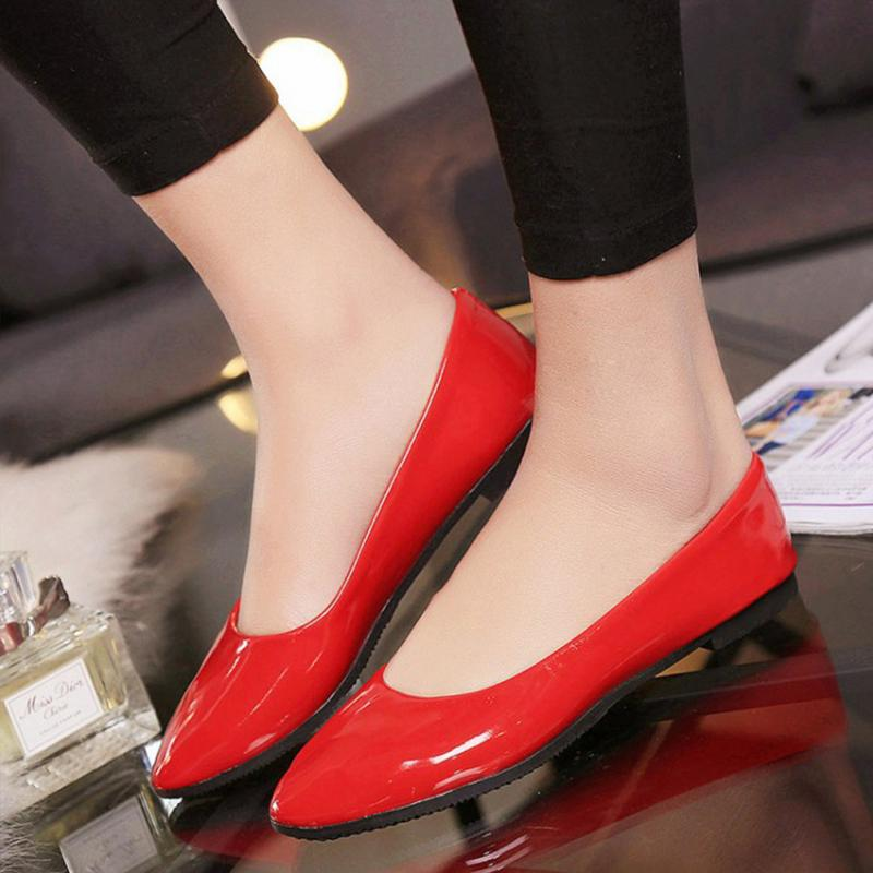 Mixed Colors Blue Red Yellow Black Green Glossy Patent Leather Women Nude Pointy Toe Flats ladies Shoes Big Size #0907 fashion luxury rhinestone square buckle pointy toe black red nude color patent leather flats shoe for women discount hot selling