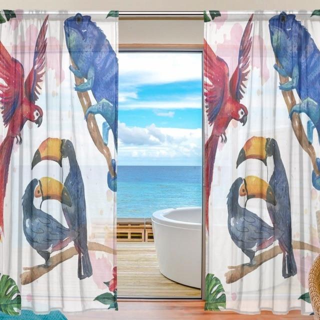 Sheer Door Curtain Panels W55x L78 Inch 55x L84 Torrid Zone Animals Red Bird