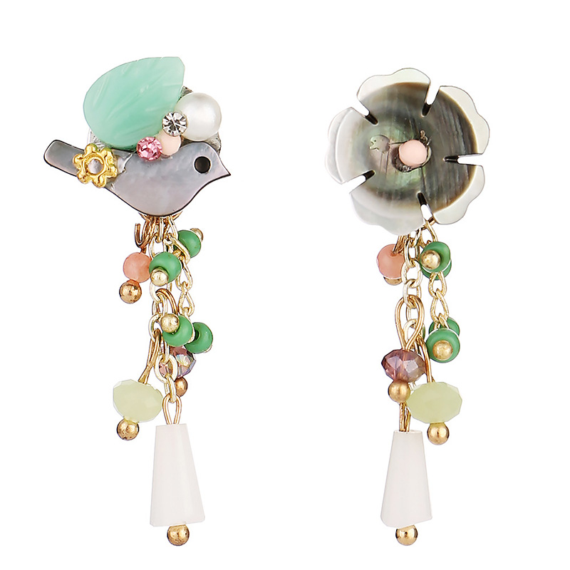 Seashell Bird Shell Flower Rhinestone Cute Earrings Tassel Earrings Asymmetrical Women Jewelry Earrings