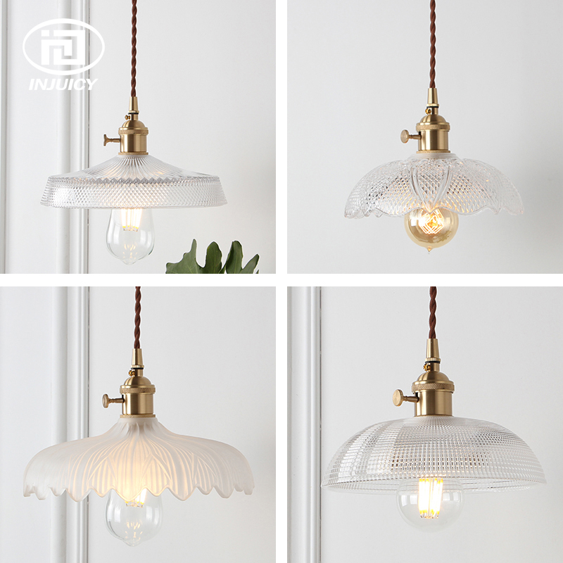 Nordic Brass Pendant Lamp Glass Lotus Umbrella Pendant Light Fixture for Restaurant Porch Bedroom Home Clothing Hall Balcony