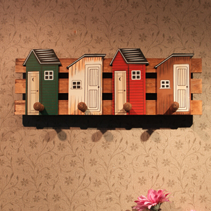 creative houses wooden decorative hook hanger pastoral wood coat rack Living Room Furniture small houses in nature