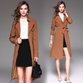 New fashion Autumn Winter british style Overcoat Women Long slim Solid Turn-Down Collar Trench Femme brown Outwear