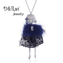 цена на Vintage Enamel Doll Pendant Necklace Fashion Zinc Alloy Long Sweater Chain For Women Statement Necklace Girl Fine Jewelry Gift