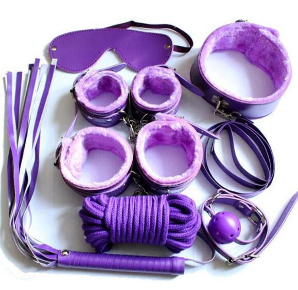 Hot! 7 Pcs Restraint Bondage Plush Cuffs Strap Whip Rope Neck Adult Sex Game Toys SetHot! 7 Pcs Restraint Bondage Plush Cuffs Strap Whip Rope Neck Adult Sex Game Toys Set
