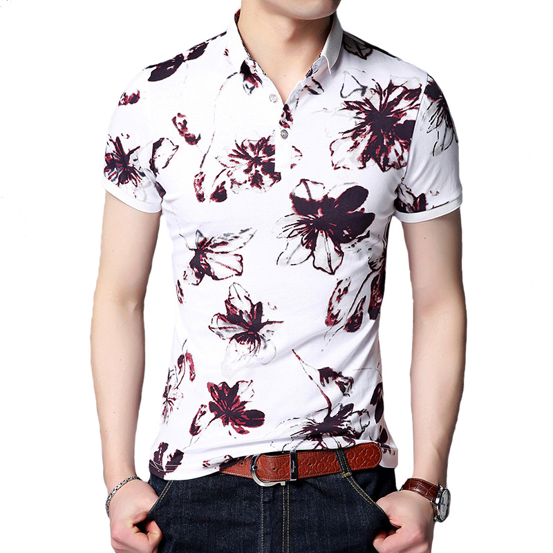 2018 New Men   POLO   Shirt Fashion Flower Print   Polo   Homme Slim Fit Short-sleeve Camisa   Polo   Men Summer Tops&Tees