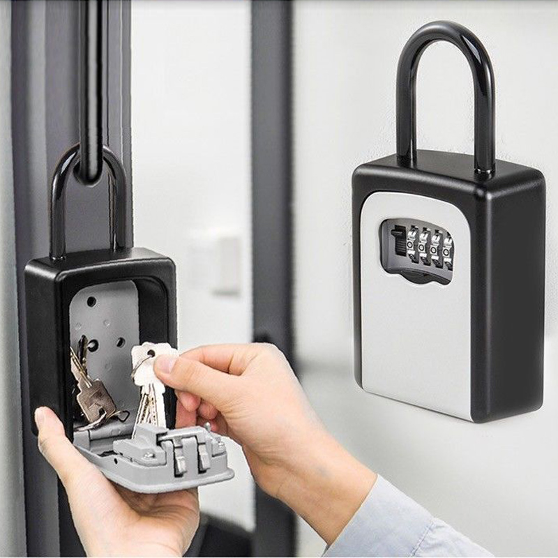 Key Lock Box Wall Mounted Aluminum Alloy Key Safe Box Weatherproof 4 Digit Combination Key Storage Lock Box Indoor Outdoo