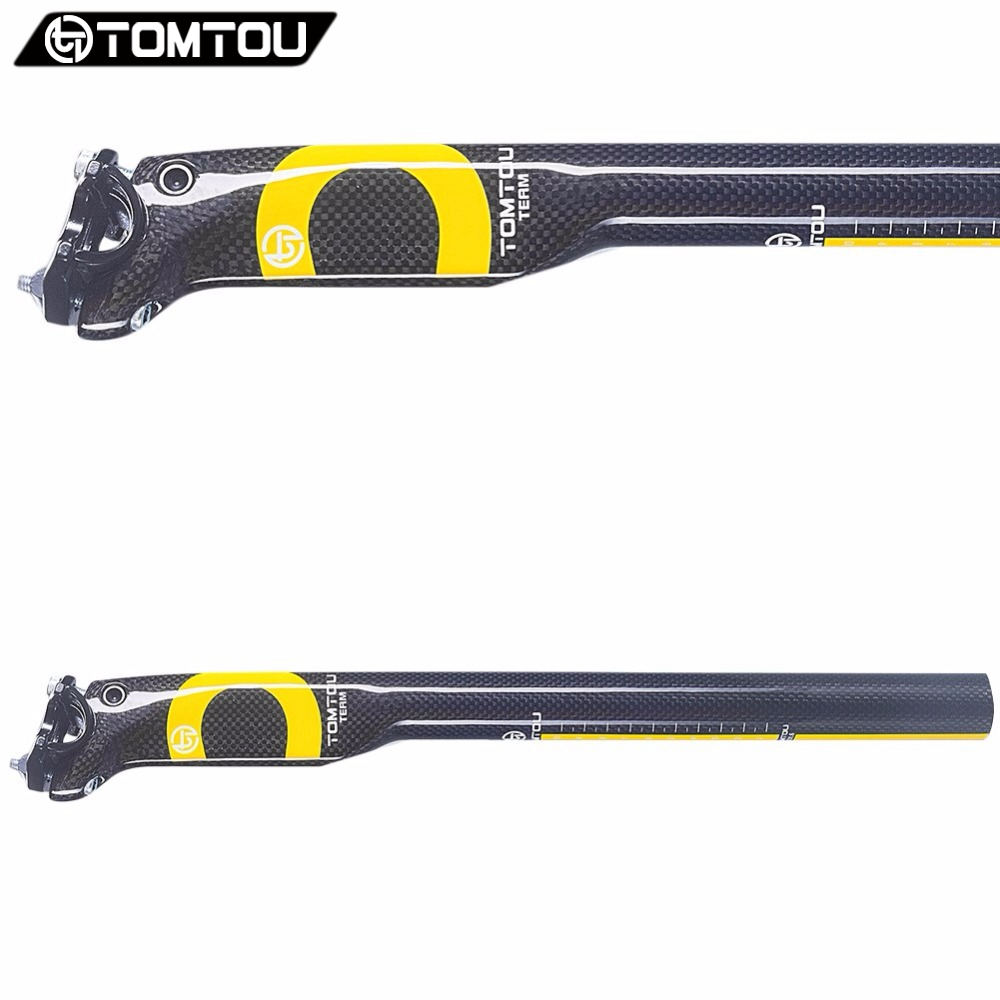 TOMTOU Cycling Breaking Wind SeatPost Finish 3k Carbon Mountain Bike / Road Bicycle Seat Post 25mm Offset Glossy Yellow - TC8T22