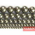 "Free Shipping Natural Stone Iron Pyrite Round Loose Beads 16"" Strand 4 6 8 10 12MM Pick Size For Jewelry Making IPB01"