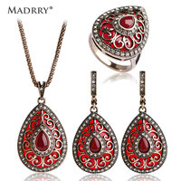 Madrry Indian Jewelry Sets Heart Pendant Necklace Earrings Ring For Women Gold Color Resin Collier Brinco
