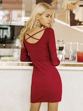 CUERLY Elegant lace up women knitted dresses Long sleeve sexy elastic wine red sweater dress Casual bodycon vestidos 2019