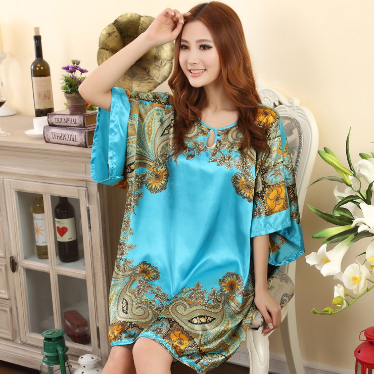 Summer Sexy Silk Nightgown Sleepshirts Women Short-sleeves Plus Size Sleepwear Lounge Casual Satin Silky Nightwear Female Dress 1