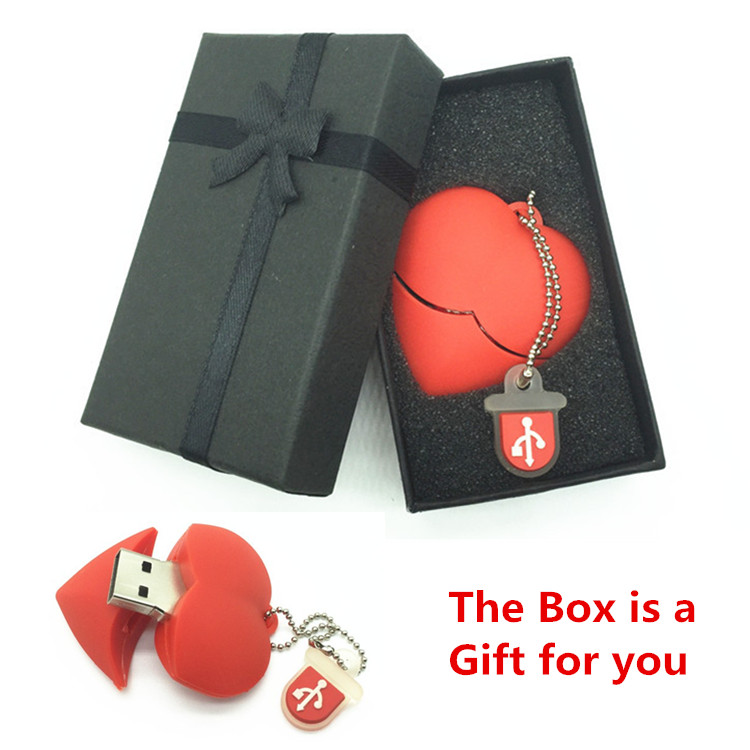 Usb Stick Red heart wedding gift USB Flash 2.0 Memory Drive Stick Pen/Thumb/Car usb flash drives 4gb 8gb 16gb 32gb 64gb + Box usb flash drive 4gb союзмультфлэш кристаллы red fm4sw2 02 r