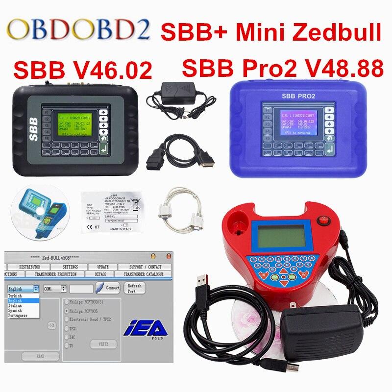 2018 Full Set SBB V46.02 SBB Pro2 V48.88 + Mini Zedbull Auto Key Programmer SBB 46.02 / SBB Pro 2 48.88 Car Key Transponder full set sbb mini zed bull key programmer v33 02 sbb v508 smart zedbull auto key pro maker transponder no tokens dhlfree