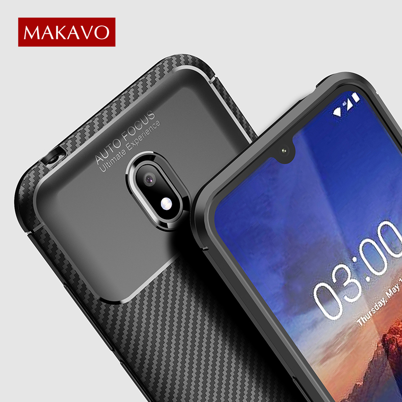 MAKAVO For <font><b>Nokia</b></font> 2.2 Case Carbon Fiber Texture Soft Silicone ShockProof Back Cover For <font><b>Nokia</b></font> 3.2 4.2 <font><b>X71</b></font> 1 Plus Phone Cases image